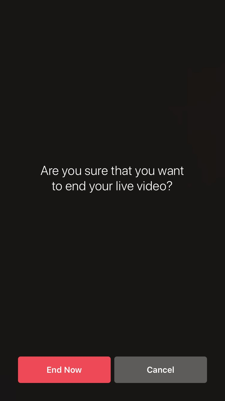 Instagram Live end screen
