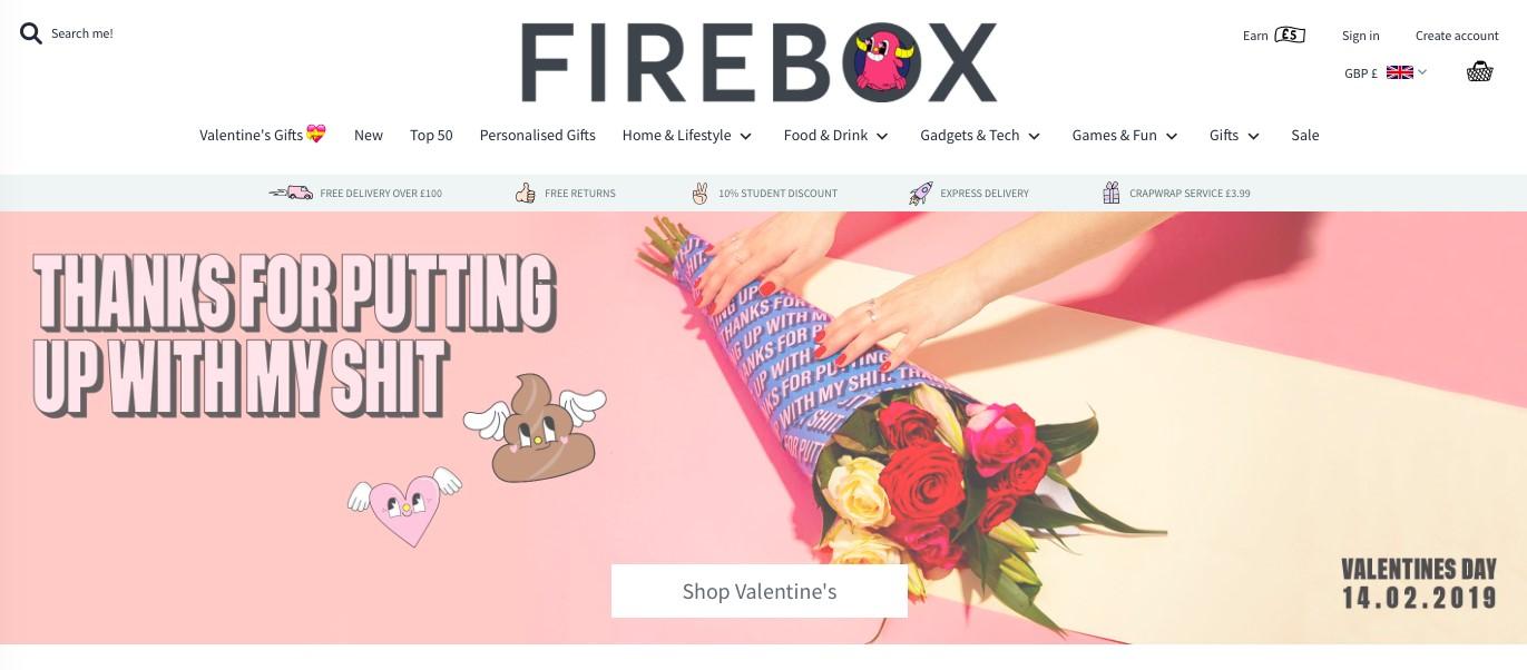Firebox Valentine's Day homepage