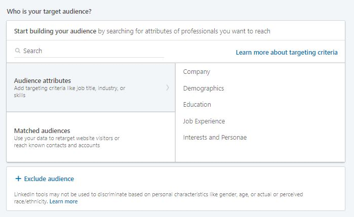 LinkedIn Ads: audience targeting
