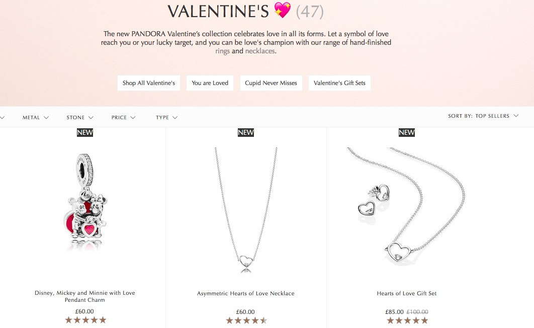 Pandora Valentine's Day product pages