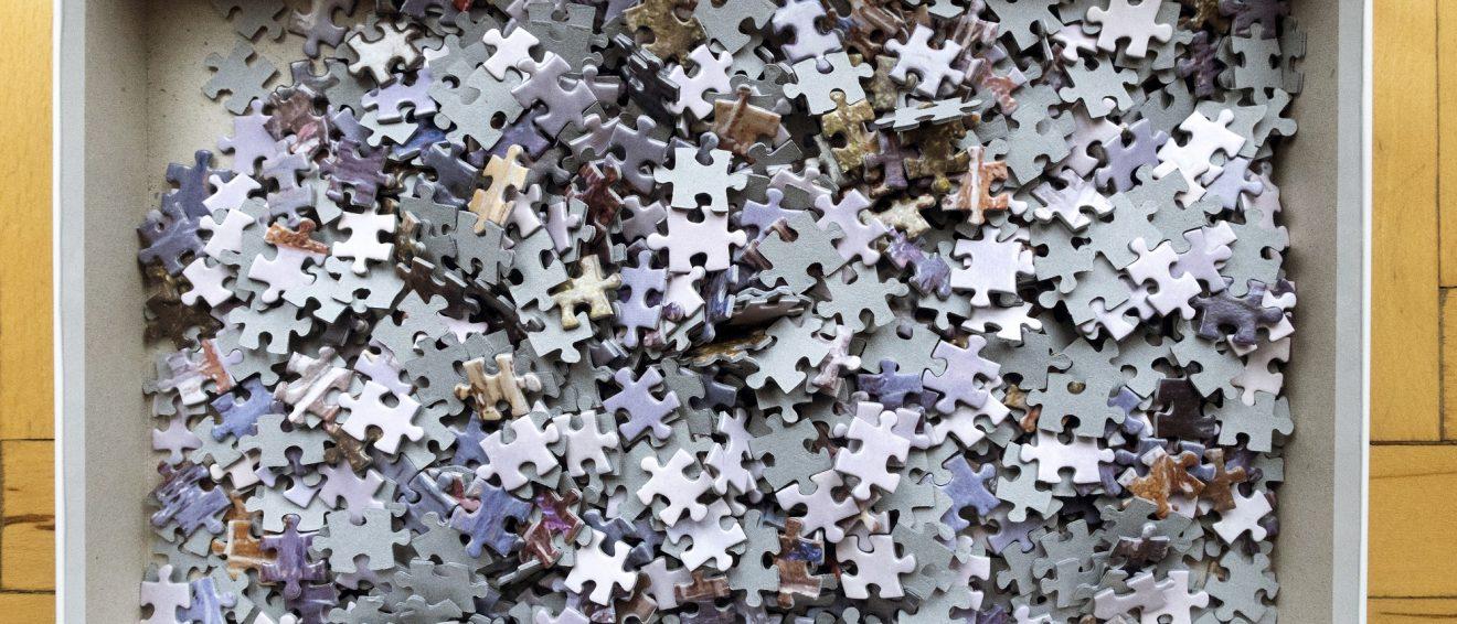jigsaw pieces in box