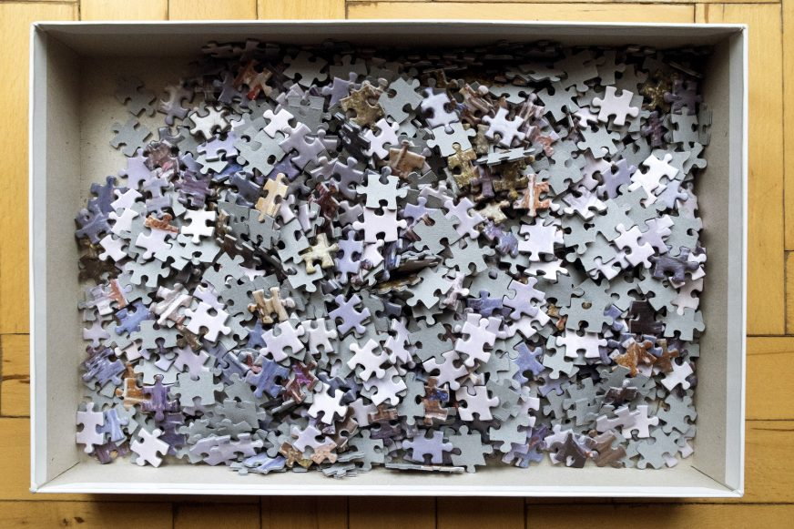 jigsaw pieces in box
