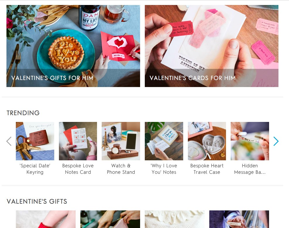 notonthehighstreet Valentine's Day landing page
