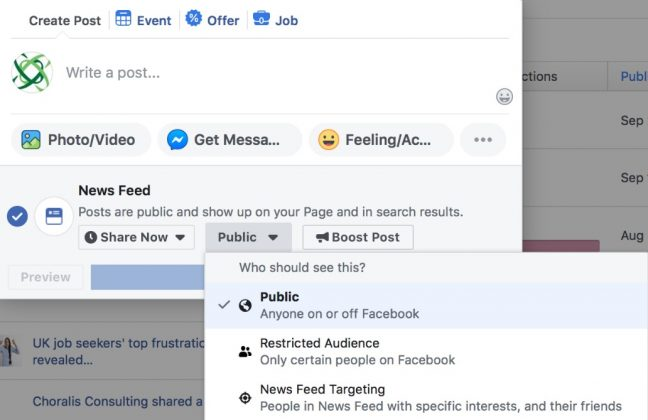 Facebook post targeting