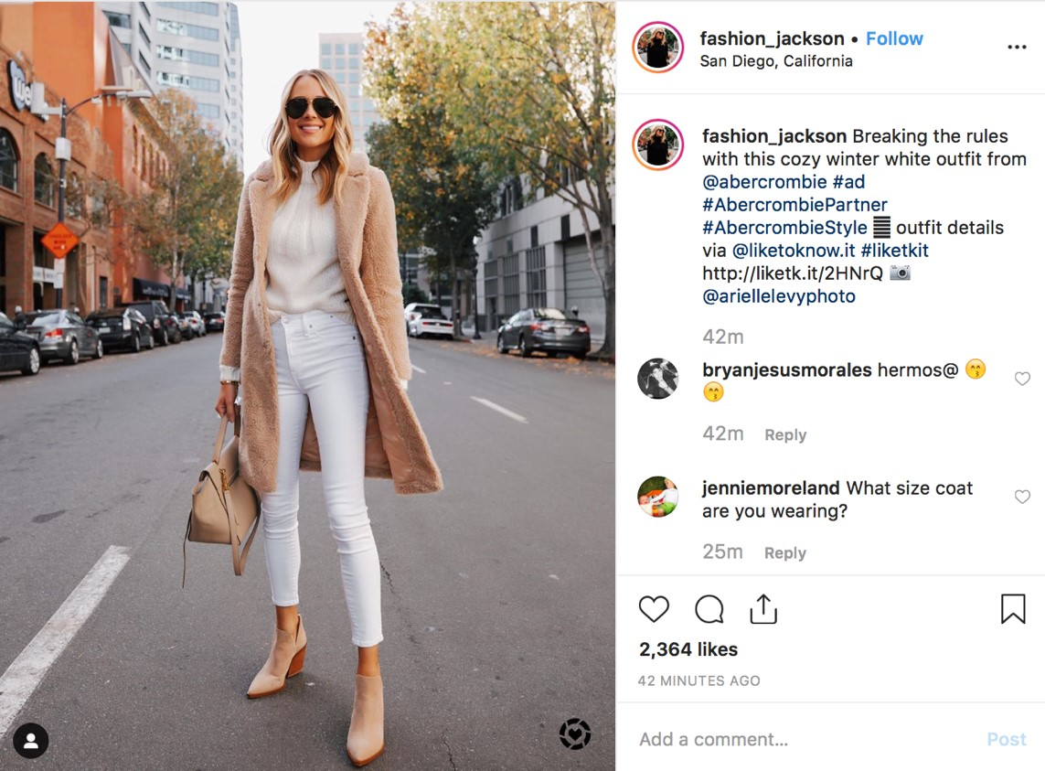 Instagram influencer post example