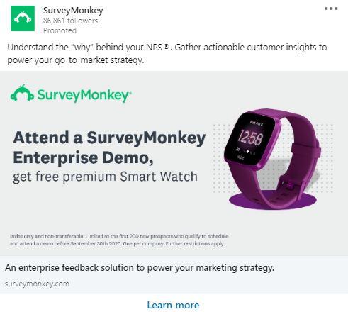 LinkedIn sponsored content advert