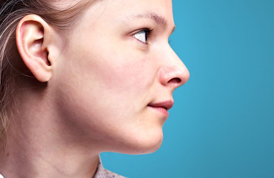 A side view of a woman's face