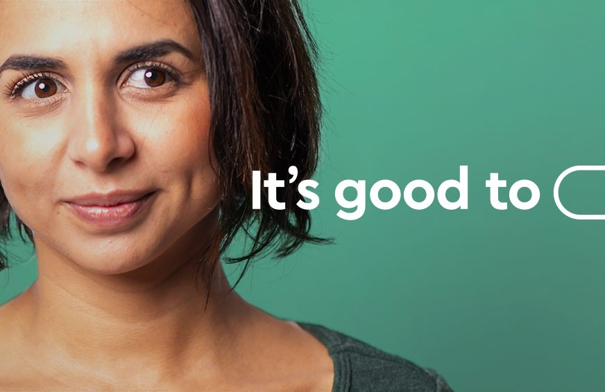 a head shot of a lady with text 'it's good to (speech bubble drawing)'