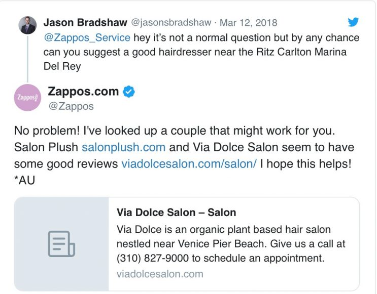 Zappos customer service on Twitter