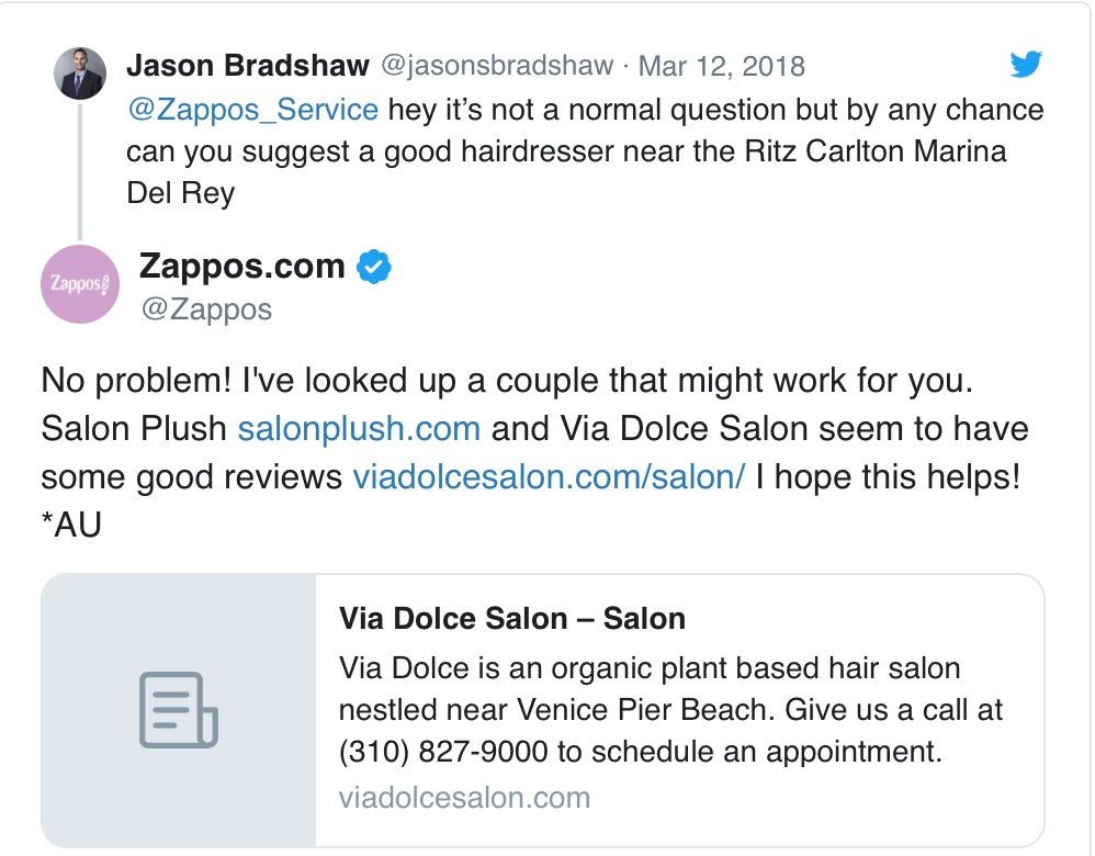Zappos customer service on Twitter