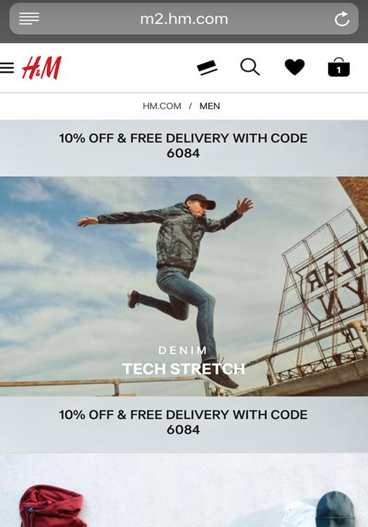 H&M Men's shopping page
