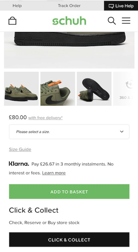Schuh mobile CTA buttons