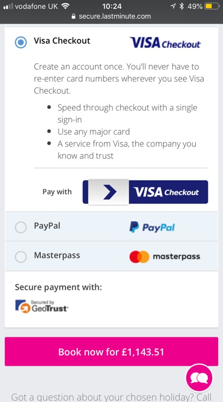 Visa checkout mobile commerce