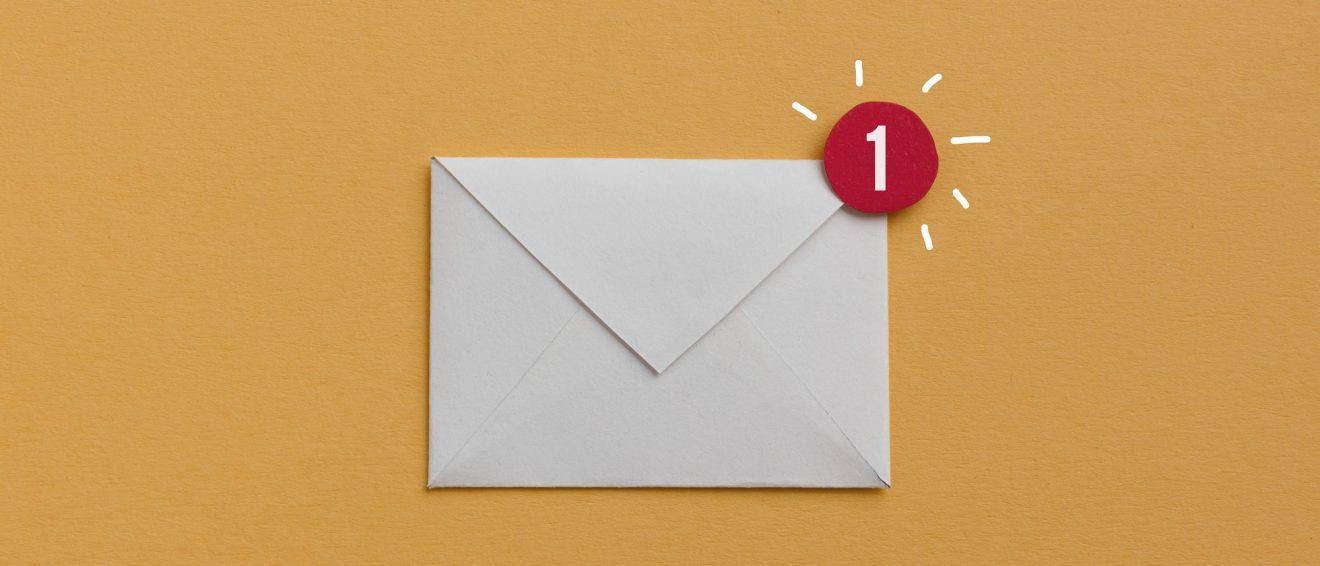 envelope on coloured background