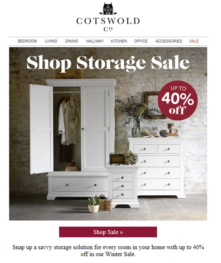 Promotional sale email from Cotswold Co