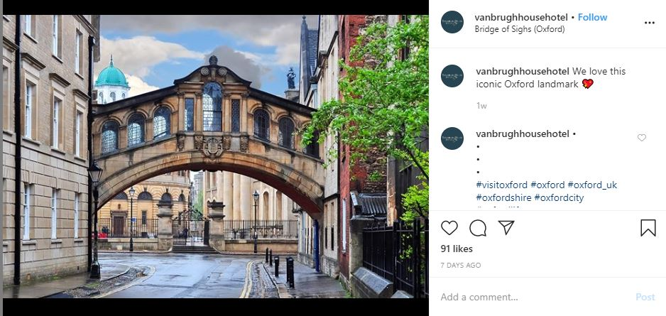 Vanbrugh House Hotel Instagram post