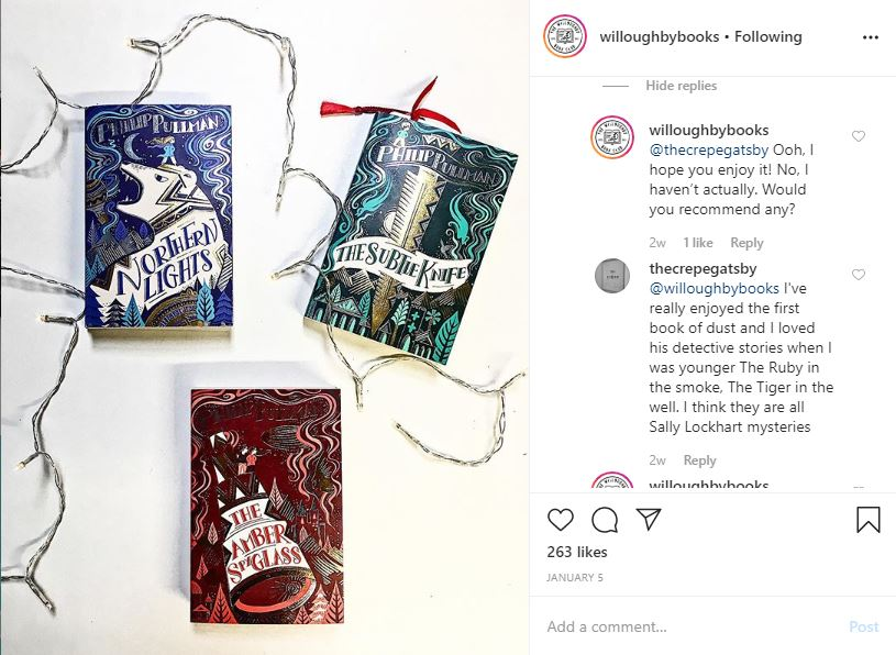 Willoughby Books Instagram post