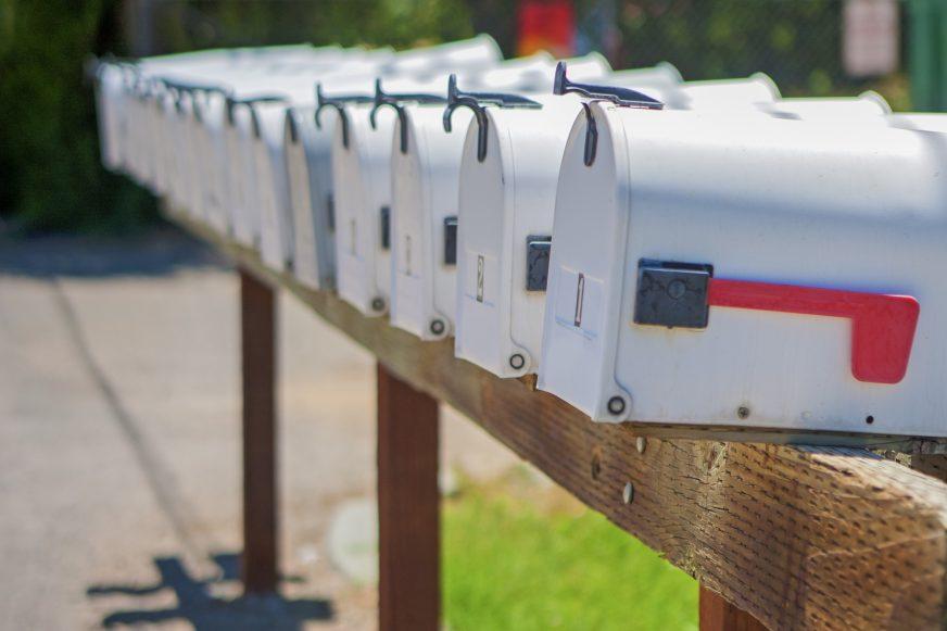 a row of American mail boxes