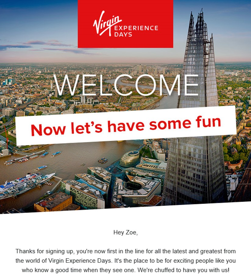 welcome email from Virgin experience days