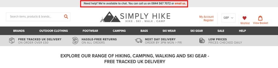 Simply Hike website homepage