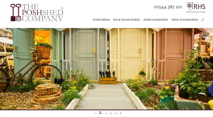 The Posh Shed Company website homepage