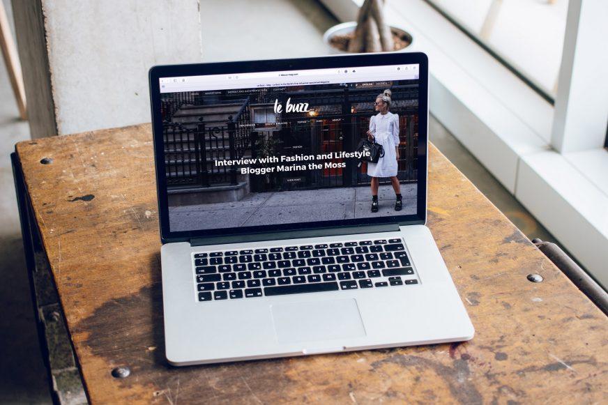 website homepage on laptop screen
