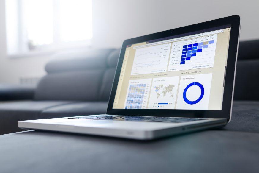 graphs shown on laptop screen