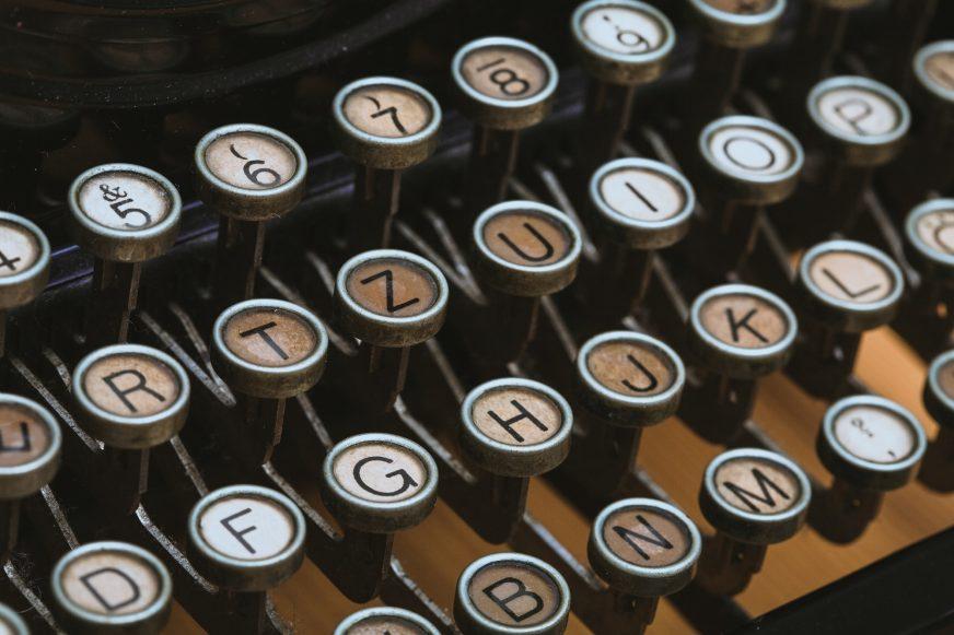 close up of typewriter keys