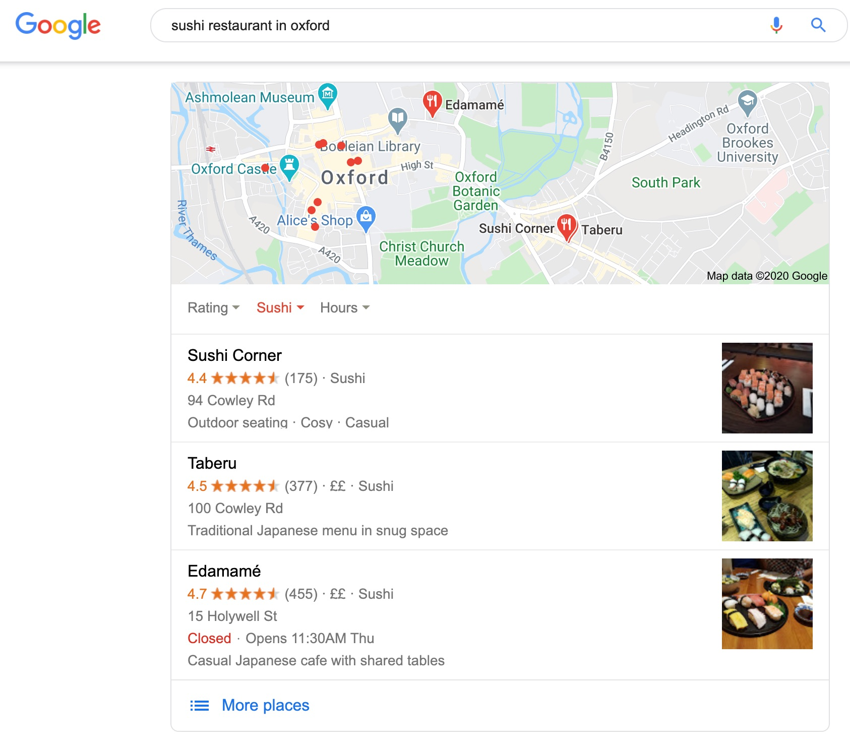 Google local search results