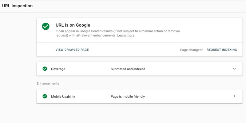 Google Search Console URL inspection