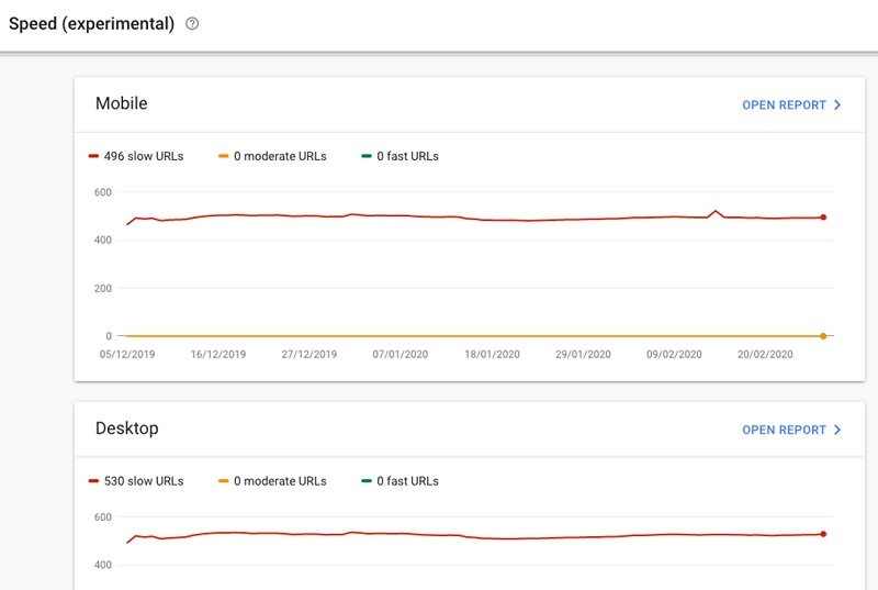 Google Search Console page speed report