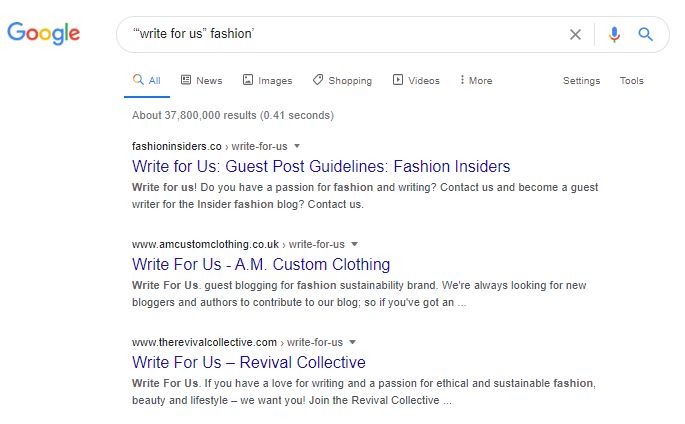 Googling guest blogging websites