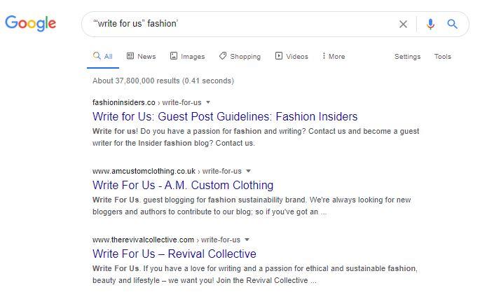 Googling guest blogging websites