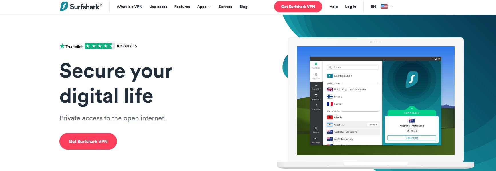 Surfshark VPN website