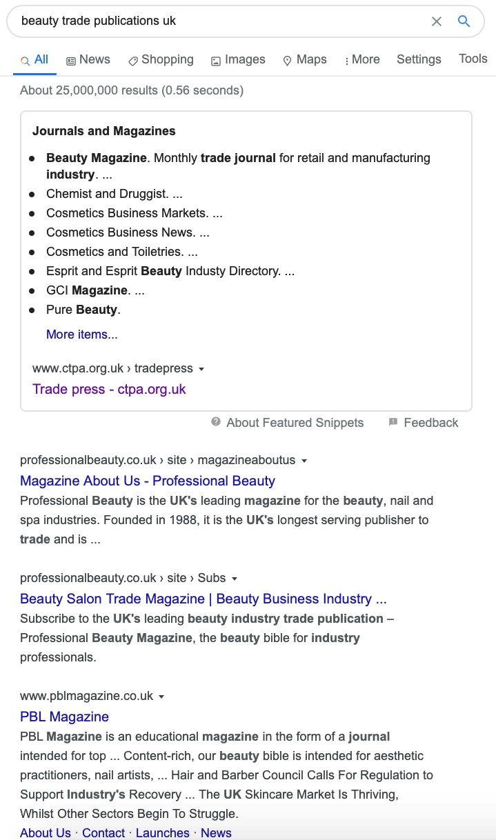 Google search for industry publications