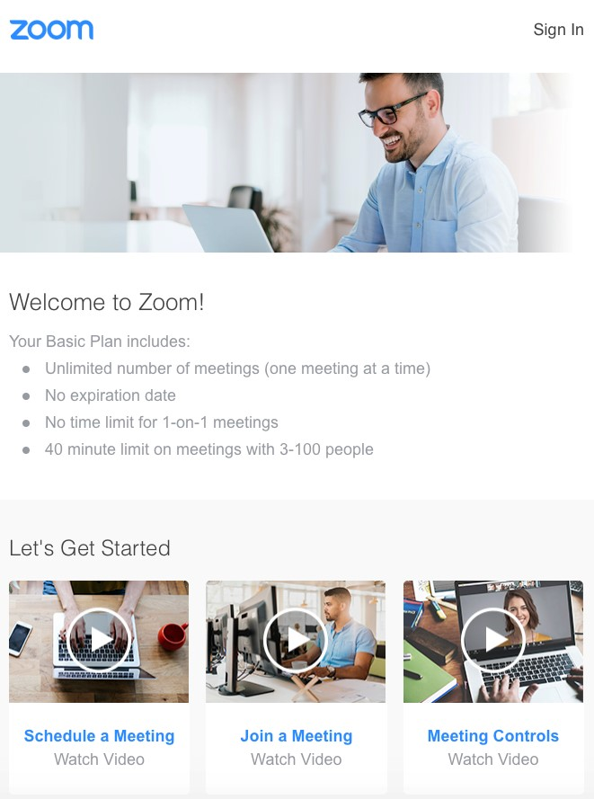 Zoom welcome email