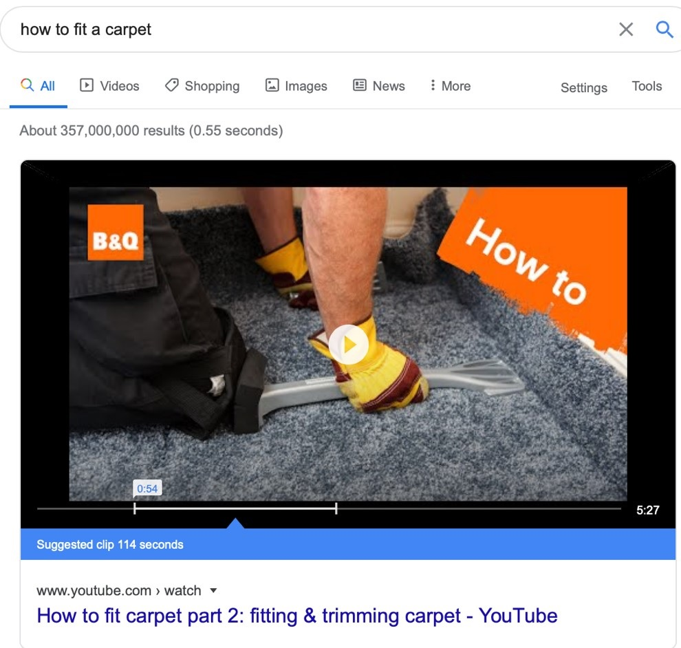 B&Q video in search results