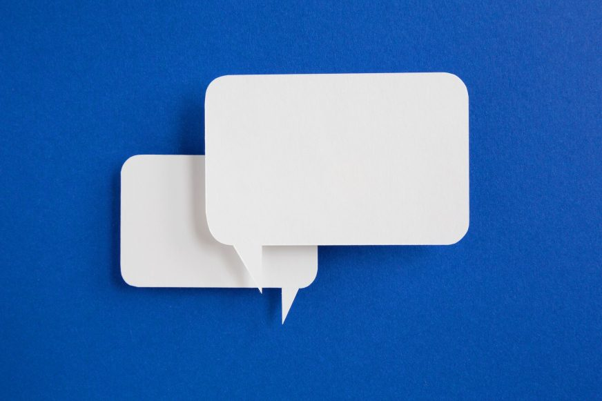 Speech bubbles on blue background