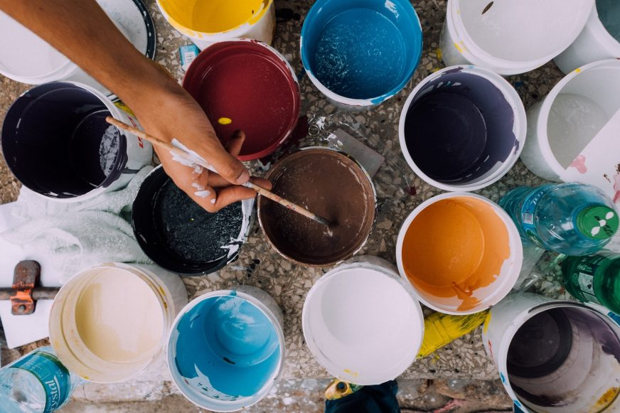 Colourful paint tins
