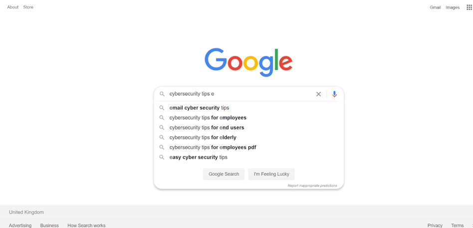 Google search for cyber security