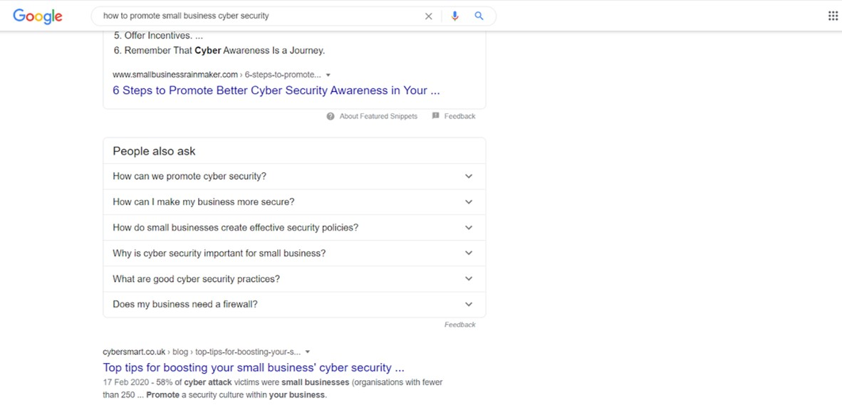 Google's 'people also ask' search