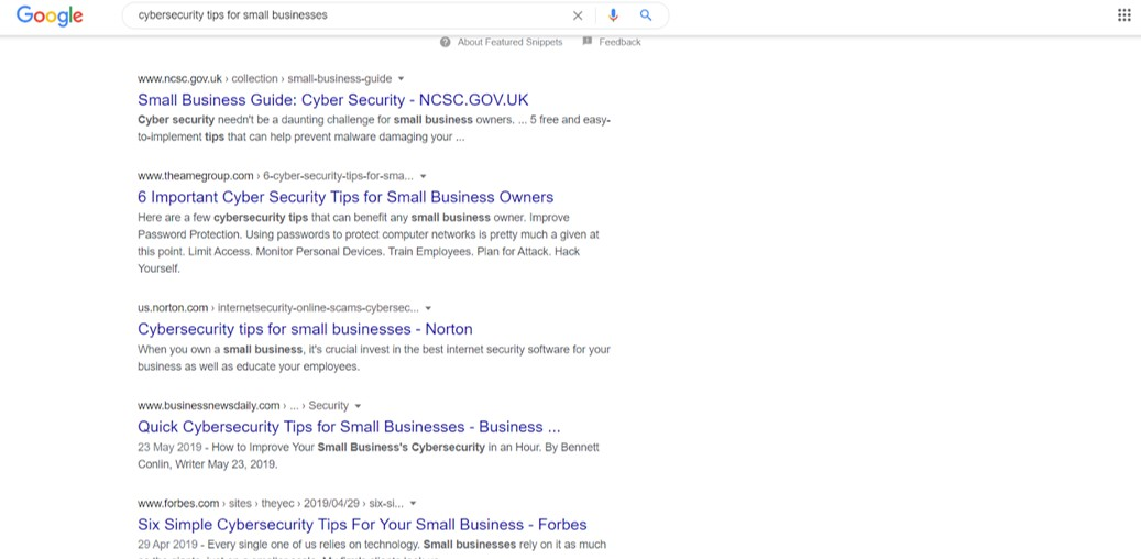Google search for cyber security tips