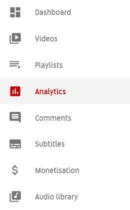 YouTube Analytics menu