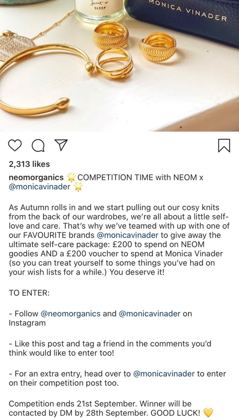 Neom Organics Instagram competition example