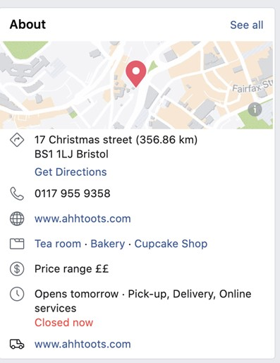 Business profile on Facebook