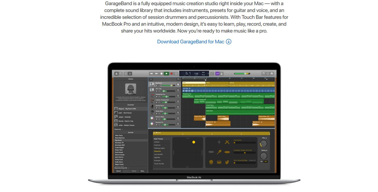 GarageBand software screenshot