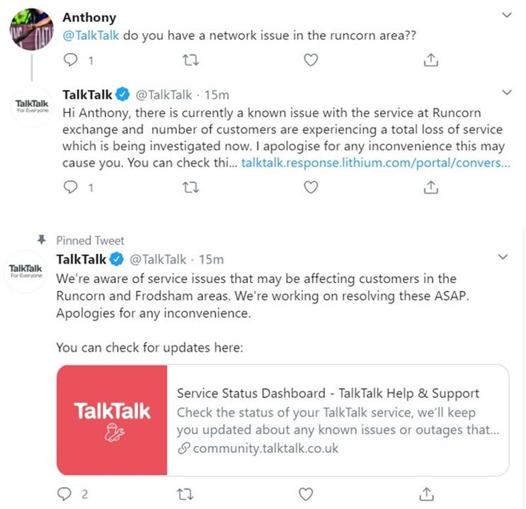 TalkTalk customer service tweets