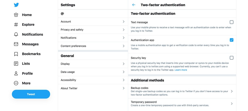 Twiter two-factor authentication setup