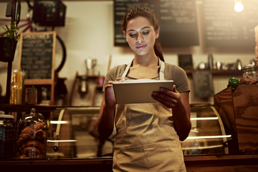 cafe owner on ipad