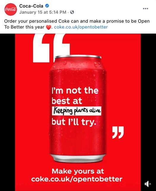 Cola-Cola social media screenshot